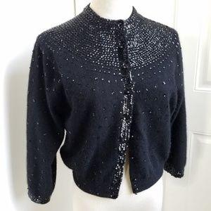 Vintage 50s black cashmere/sequin cardigan